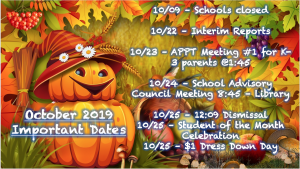 October 2019 - Important Dates